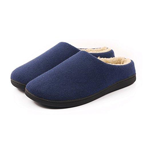 &zhou In autunno e inverno, Pantofole, uomini, in cotone, morbido, comodo, caldo, insapore, peluche, spessa, antiscivolo deep blue