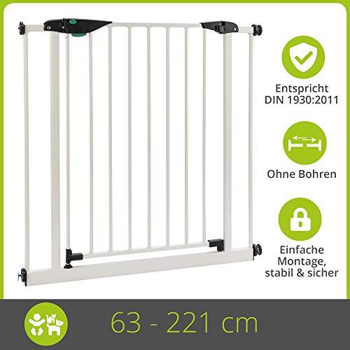 BOMI Baby Schutzgitter Treppe 63-221 | Ohne Bohren | 90° Stop | Schließt automatisch | Gittertür aus Metall weiss | Stabile Baby Schutzgitter Tür für Kindersicherheit | Treppen Türgitter