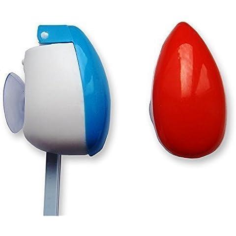 Cepillo de dientes Funda x 2 Rojo Y Azul) cepillo Estuche De Viaje con la succión Sostenedor De Taza ~ Para Manual & Eléctrico (inc Oral B Cabezales De Recambio)