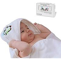 Crystal Baby Smile Asciugamano da Bagno di Bambù con Cappuccio per Neonati o Bambini - Qualità Premium, Morbide e Super Assorbente - Extra Large 90x90cm - Colore Bianco Unisex - L'idea Regalo Perfetta