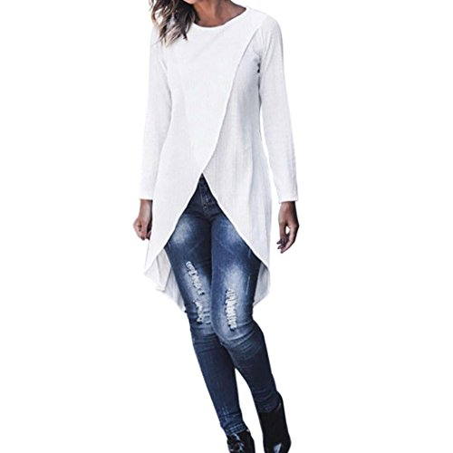6134f5b59e ABCone-Donna Pullover Felpa Forcella O-Neck Irregolare T-Shirt Maniche  Lunghe Elegante