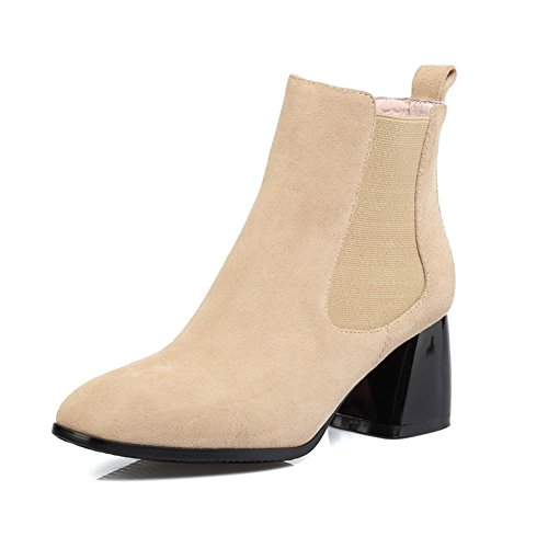 balamasa-ladies-elastic-band-chunky-heels-solid-apricot-frosted-boots-55-uk