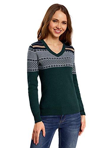 oodji Ultra Damen Pullover mit V-Ausschnitt und Jacquard-Muster auf den Schultern, Grün, DE 34 / EU 36 / XS (Leder Braun Loafers Womens)