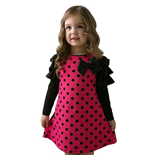 Sunnywill Baby Jungen Mädchen Dot Bow Prinzessin Kleid Sundress Outfits Kleidung (2 jahr, Hot Pink) Cord Kleid Set