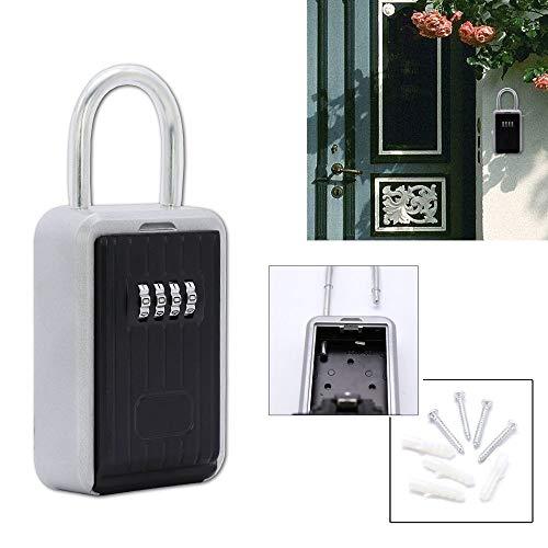 Hengda® Schlüsseltresor 4 Digit Zahlencode Keysafe für Innen- und Außenbereich Keykeeper schwarz-silber Wandmontage wasserdicht Garagen Haus mit Bügel