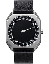 slow Jo 06 - Black Leather, Silver Case, Black Dial Analog Leder Schwarz slow Jo 06