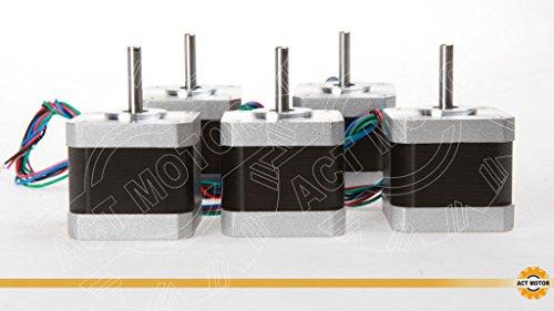 ACT MOTOR GmbH 5PCS 17HM5417 Nema17 Stepper Motor Bipolar 48mm Body 40Ncm Torque 4Wire 300mm Cable 1.7A with 0.9° 3.06V for Robot CNC RepRap