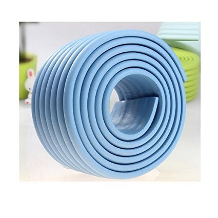 Extra Dense Furniture Table Wall Edge Protectors Foam Baby Safety Bumper Guard Protector, 2 Meters (6.5 Ft) Long * 8 CM Wide (Blue)