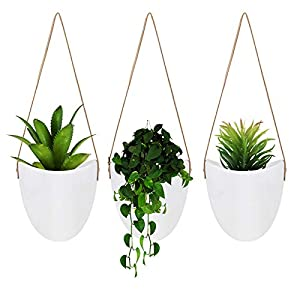 FairyLavie Ceramic Wall Hanging Planter Indoor for Succulent,Cactus,Air Plants,House Hanging Pots Set with Leather Strap,Set of 3