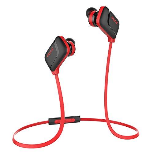 Honstek H7 Bluetooth Ohrhörer, Kabelloser In-Ear Kopfhörer, Bluetooth V 4.0 mit Mikrofon, Lautstärkeregler, Ergonomischen Ohrstöpseln für IOS-, Android- und Windows-Geräten (Schwarz/Rot)