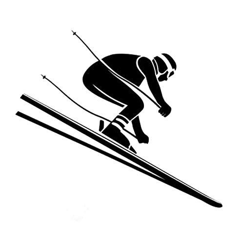 ZHOUHAOJIE Englisch Auto Aufkleber Wasserdicht Sonnencreme Reflektierende Aufkleber 14 9 cm * 12 8 cm Spaß Ski Alpine Sport Silhouette Vinyl Auto Aufkleber -