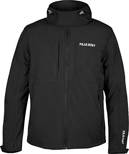 Polar Husky® Herren Softshell Jacke mit Kapuze in verschiedenen Ausführungen S-XXXL Farbe Schwarz Größe L