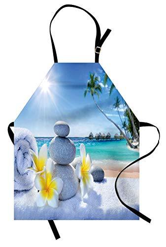 Spa-Schürze, Spa-Behandlung am tropischen Strand Sunshines Palm Trees Bungalows Holzdeck, Unisex-Küchenschürze mit verstellbarem Hals zum Kochen Backen Gartenarbeit, Blau Gelb ()