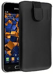 mumbi Echt Ledertasche kompatibel mit Samsung Galaxy J1 2016 Hülle Leder Tasche Case Wallet, schwarz