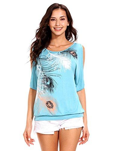 ISASSY Schulterfreies Damen Oberteile Kurzärmelig Sommer T-Shirt für Standurlaub mit Feder Motiv Tops Shirt