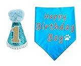BIPY Dog 1st Birthday Hat and Bandana Set for Boys Small Medium Large Dogs Cats Costumes Headwear Blue