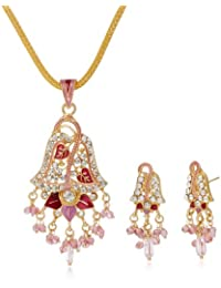 Aakhi Pink Peacock Jhumka Design with Pink Pearl Drop Jewellery Set for Women (AKS_ST_LEFP)