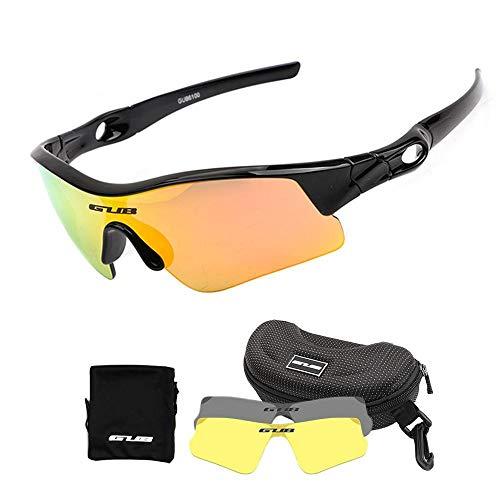 Womdee Kinder Fahrradbrille, polarisierte Sport-Sonnenbrille mit 2 austauschbaren Gläsern, 100% UV-Schutz, mit unzerbrechlichem Rahmen für Jungen, Mädchen, Alter Schwarz