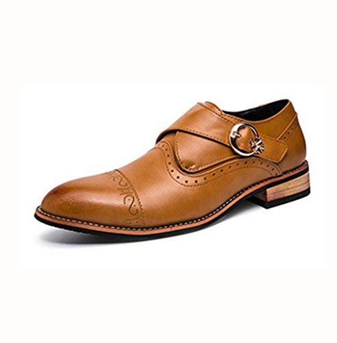 WZG Les nouveaux hommes ont souligné chaussures sculptées chaussures habillées d'affaires Bullock hommes en cuir de haute qualité pointeur Brown