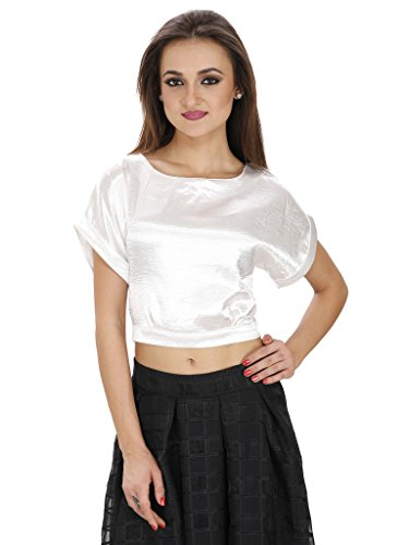 SVT ADA COLLECTIONS SATIN WHITE COLOR SHORT SLEEVES CROP TOP