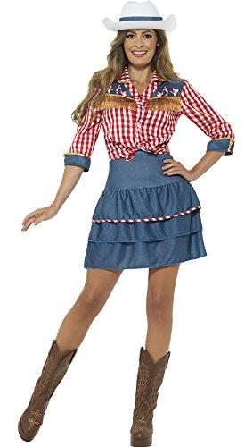 erdbeerclown - Frauen Rodeo Cowgirl Kostüm mit Oberteil, Rock und Hut, S, Mehrfarbig