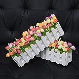 XuanMax 2pcs Roses Kunstblumen mit Zaun Kunstpflanzen mit Topf Künstliche Blumen im Pot Künstliche Pflanzen Gefälschte Topfpflanzen Bonsai Dekoartikel Ornamente 30 * 7.5 * 12cm - Farben Mischen - 2