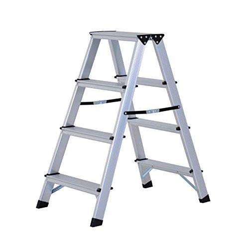 HOMCOM Escalera de Tijera Aluminio Plegable Escalera Doméstica de Mano Ambos Lados 4 Peldaños Carga 150kg