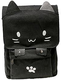 mochilas escolares juveniles chico Sannysis bolsos de mujer verano de Lona bolsos de mano fiesta con cremallera school bag casual backpacks, emoji Impresión del gato (blanco)