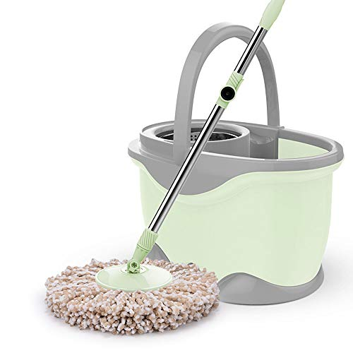 CCFCF Microfiber Home Free Hand-Washing Rotary Mop Eimer, selbst-Schrauben Rotary Teleskop Pol Haushalt Küche Bodenreinigung Hände-freies Waschen,Green (Teleskop-pol-füße)