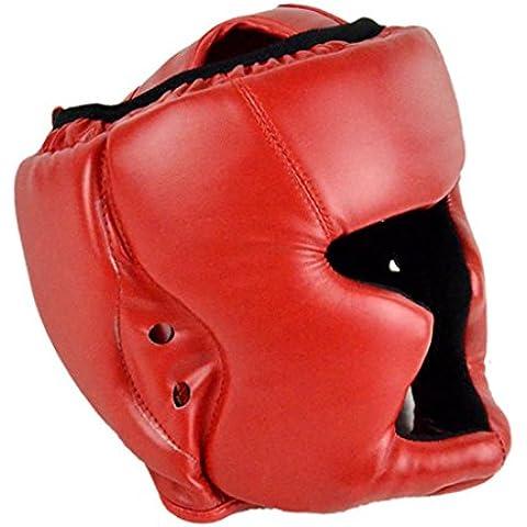 Boxeo MMA casco - casco de entrenamiento de boxeo All4you cuero luchando cabeza protector Sparring Helmet(Red)