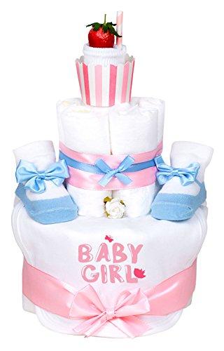Trend Mama Windeltorte Cupcake Mädchen hellblau/rosa Baby Girl 1x Lätzchen,1x Babysocken mit Satinschleife, 1x weiße Socken,+ Grußkarte| Geschenk Geburt
