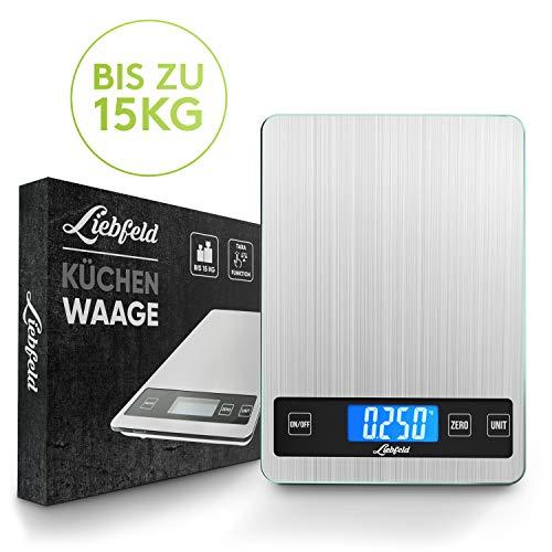 Liebfeld® Digitale Küchenwaage bis 15kg [2019er Version] Haushaltswaage Edelstahl mit großer Wiegefläche + 2 Batterien