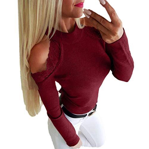 iHENGH Damen Top Bluse Lässig Mode T-Shirt Frühling Sommer Frauen Bequem Blusen Plus Size Langarm Oansatz Spitze Patchwork Tops Shirt Pullover