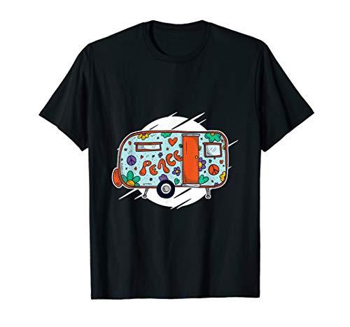Hippie Kostüm - Peace Love Flower Power Camper Retro T-Shirt