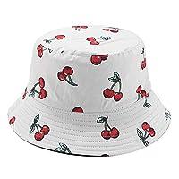 BASIC MODEL Unisex Fruit Printed Bucket Hat Fisherman Cap Summer Packable Reversible Sun Hat (Cherry-White)