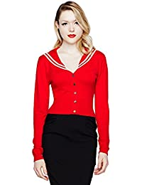 Hell Bunny Landlubber Sailor 50s Style Red Cardigan