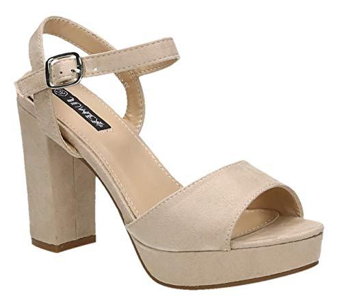 Damen Riemchen Abend Sandaletten High Heels Pumps Slingbacks Velours Satin Peep Toes Party Schuhe Bequem G7 (37, Beige 52) -