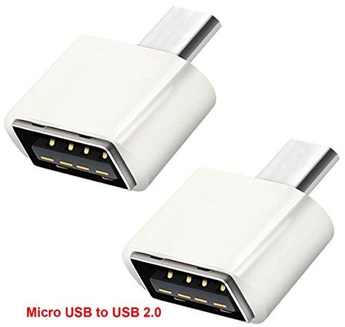 Lucklystar® Adaptador Conector Micro USB A USB 2.0 OTG, Convertidor Micro USB Macho a USB A Hembra OTG Enchufe Para Android Smartphone/Tablet Con Función OTG (Huawei Samsung Galaxy S7/S7E/S6E/s5/s4,Tab S/S2/Pro, LG G4/3/2/1/G Pro 1/2, Sony Xperia Z1/Z2/Z3/Z5, HTC One M8/M9, Google Nexus 5/6/7/9/10, Nota 5/Edge/4/3/2/Pro/10.1/8.0 Color Blanco 2PCS