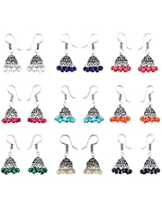 Yellow Chimes Stylish Combo Lively Colors Golden Silver Oxidized Traditional Stud ChandBali Jhumki/Jhumka Earrings for Women and Girls