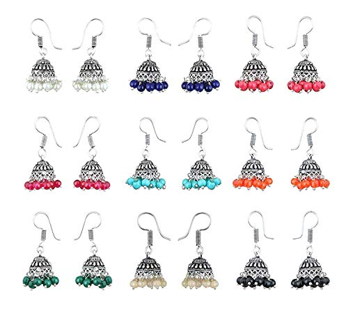 Yellow Chimes 9 Pairs Lively Colors Jhumki by Yellow Chimes Jhumki Earrings for Women (Silver Oxidized) (YCTJER-OXD9-C-SL)