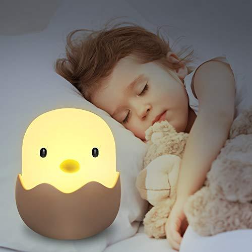 LED Nachtlicht Kinder, solawill Silikon LED Nachtlampe Baby Nachtleuchte mit Touch Schalter USB Aufladbar Schlummerleuchten für Babyzimmer, Schlafzimmer, Wohnräume, Camping Warmes weißes licht -