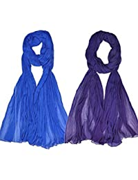 Womens Cottage Women's Combo Pack Of 2 Solid (Plain) Pure Chiffon Free Size Dupatta And Stoles With Pom Pom Lace