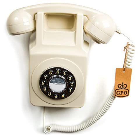 GPO 746 Push Button Retro Telephone with Authentic Bell Ring and Wall Mount - Ivory