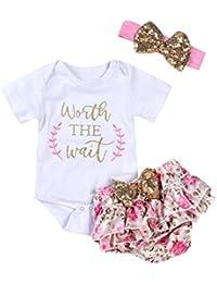 Trajes Bebés Niñas, Zolimx 3 Pcs Bebé Recién Nacido Carta Floral Romper + Cortos + Diadema Ropa Conjunto