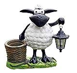Fachhandel Plus Deko-Schaf mit LED-Lampe und Pflanztopf, Dekofigur Tierfigur