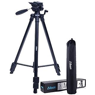 Alboot Fotostativ Action 163 3D (Höhe 56-163 cm, 3-Wege Kugelkopf, Gummifüße und Spikes, Belastbarkeit bis 4 kg, Gewicht 1200 g leicht, Kamera Stativ inkl. Tragetasche) schwarz