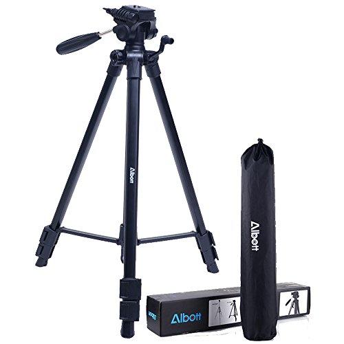 Kamera Stativ 165cm Aluminium Fotostativ Albott Professioneller Beweglicher Reisen Stativ für SLR-Kamera Canon Nikon Petax Sony Tripod inkl. Tragetasche Schwarz