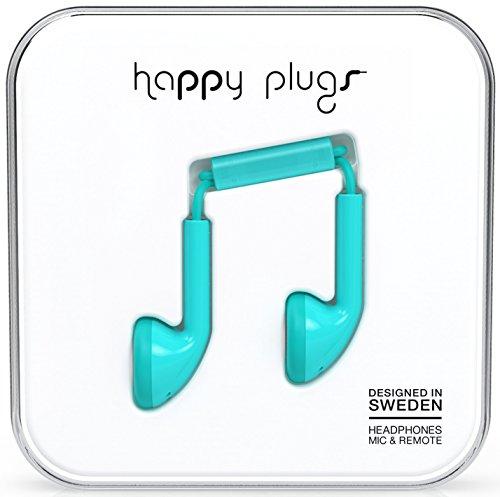 Happy Plugs Auricolari Earbud con Microfono e Comandi Integrati, Turchese