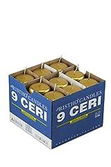 Idea Regalo - Cereria di Giorgio Candele diametro 5 cm altezza 12 cm - Oro - Confezione da 9 pezzi