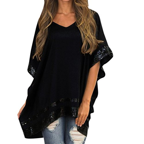 Odejoy donne taglia grossa decorato con paillettes v-collo mezza manica blusa scintillante le donne sciolto trim camicetta colore solido tunica t-shirt top corta elegante pullover (xl, black)